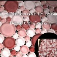 Buy cheap Round Glass Mosaic,Red White Color, 4 or 8mm Thickness product