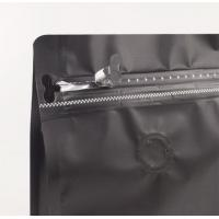 Buy cheap 1KG flat bottom black aluminum foil zip-lock bags stand up pouches for air valve coffee from wholesalers