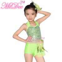 Buy cheap Confetti Halter Neck Sequin Dress , Shuttle Pleated Skirt Dress Dance Clothes For Kids from wholesalers