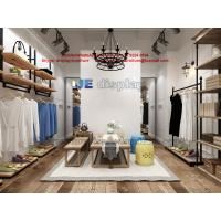 Buy cheap Women Cloth Store design in raw timber wall racks and black metal hangers cabinets from wholesalers