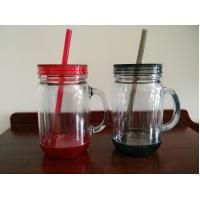 Buy cheap color mason jar Plastic Mug with straw from wholesalers