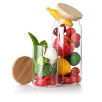 Buy cheap Heat resistant Glass Jars For Storage Container Coffee Sugar Storage Jars with bamboo lid from wholesalers