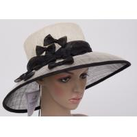 Black White 57cm Womens Church Hats With Small Black Bowknot / Sinamay Hat For Party OEM Manufactures