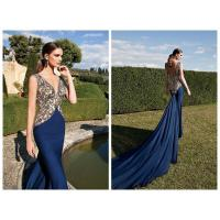 Blue Vintage Womens Evening Dresses / Long Mermaid Evening Gowns Manufactures