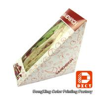 China Innovative Eco Friendly Paper Food Boxes , Triangle Sandwich Packaging Box on sale