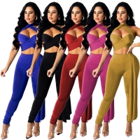 Buy cheap Belted And Crossed With Hollowed-Out Neck Lanyard Pant Suit Ladies from wholesalers