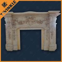 Buy cheap Indoor Beige Marble Stone Fireplace Mantel For Hotel Decro , Hand Carved from wholesalers