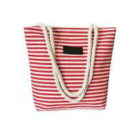 Buy cheap Ladies Casual Canvas Grocery Shopping Bags , Striped Beach Tote Bag from wholesalers