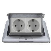 Wholesale Popular Silver EU Plug Pop Up Double Floor Socket / 2 Gang Power Socket from china suppliers