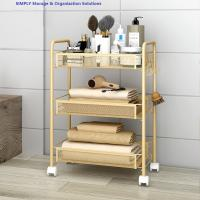 Buy cheap Golden Kitchen Basket Movable Cart Home Wire Shelving Mobile Simple Assembly from wholesalers