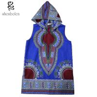 Buy cheap 100 Percent Cotton Mens Hoodie African Print Tops Clothing Sleeveless Multi Colors from wholesalers