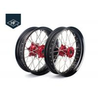 Buy cheap 18 Inch CNC Aluminium Aftermarket Motorcycle Wheels ,  Black Motorcycle Rims With Hub from wholesalers