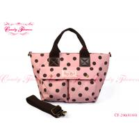 Buy cheap Lovely Ladies Fashion Floral Print Handbags Pink And Brown Polka Dot from wholesalers