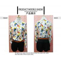 Buy cheap Fashionable Style Bird Print Long Sleeves Peter pan Collar Chiffon Blouses For Ladies from wholesalers