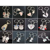 Wholesale 2pc metal keyring ,unique keyfob ,couples romatic keyring lover keychain    Fashion Love Heart Keyring Couple Keychain from china suppliers