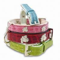 Wholesale Faux-croc Leather Dog Collar, Extra Reinforced Structure will Keep your Dog Fastened and Secure from china suppliers