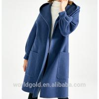 Buy cheap Blue Women'S Casual Winter Coats With Hood , Long Woolen Jacket For Ladies from wholesalers