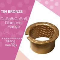 Buy cheap CuSn8 Bronze Sleeve Flanged Bearings Diamond Indentations Or Stamped With Oil Grooves from wholesalers