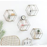 Buy cheap Hot Selling Iron Wall Storage Rack Metal Hanging Wall Decoration Living Room Bedroom Nordic Style Display Shelf from wholesalers