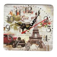 Buy cheap Silent Wall Clock Paris Eiffel Tower Flower Design Clock Home Bedroom Kitchen Decor Square-shaped Wood Wall Clock from wholesalers