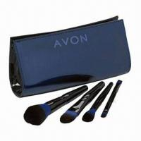 Buy cheap Cosmetic Brush Set, Includes 4 Pieces Cosmetic Brush with Portable Pouch, Available in Black  from wholesalers