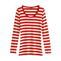 Womens Red And White Striped Long Sleeve Shirt