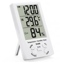 TA308 Digital LCD Temperature Humidity Meter with Clock Household Thermometer