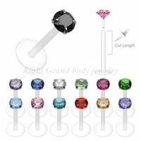 Buy cheap Custom Round CZ Stone Unisex Non - Allergic Bioflex Labret Monroe Jewelry from wholesalers