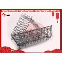 Buy cheap Heavy Duty Movable Folding Wire Container / Collapsible Steel Wire Pallet Box With Casters from wholesalers