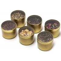 Buy cheap Golden Color Small Metal Tins With Lids And PVC Clear Window , Fashion Design from wholesalers