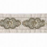 Buy cheap Fashionable Bead and Sequin Trim with Gold Metallic Yarn, Can be Used for Garments, Bags, Shoes from wholesalers