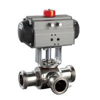 Buy cheap Sanitary SS304,3 Way pneumatic Actuator Ball Valve Male Thread, Floating type,manual type from wholesalers