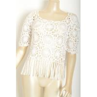 White color short sleeve flower pattern crochet clothing , crocheting clothes Manufactures