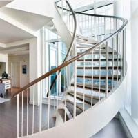Buy cheap Easy Installation Home Design curved staircase Metal Entrance timber Curved Stair from wholesalers