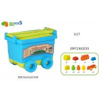 """Wholesale 17 """"  Building Blocks Toys For Toddlers Movable Wagon 32 Pcs Blue Pink Big Wheel from china suppliers"""