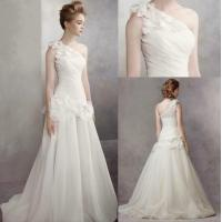 Buy cheap High Density Of Fish Bone Structure Shoulder Style Customized Wedding Dresses , With Unique 3D Draping Process from wholesalers