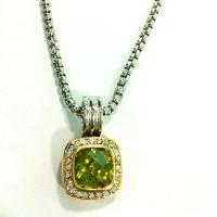 Buy cheap (N-51) Fashion Jewelry Box Chain with Two Tone Peridot Cubic Zircon Pendant Necklace from wholesalers