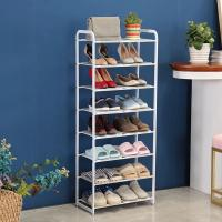 Buy cheap 8 Tier Metal Mesh Shoe Rack White Color Powder Coating With Non - Slip Rods from wholesalers