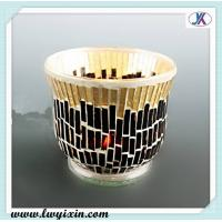 Buy cheap Black and golden glass souvenirs /Mosaic glass candlestick/ recycled glass candle jars from wholesalers