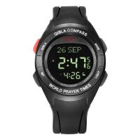 Buy cheap Muslim prayer watch azan  digital plastic rubber wriste watch colourful with qibla compass taqweem have many language from wholesalers