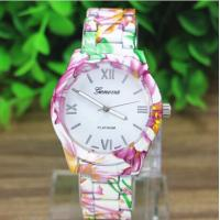 Buy cheap Lady Dress Relogio Flower Printing Geneva Quartz Watch For Business , Party , Sport from wholesalers