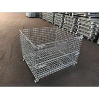 Buy cheap storage cage wire mesh container/industrial stackable storage/Storage Containers Collapsible Eur Container with Wheels from wholesalers