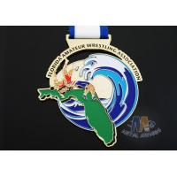 Wholesale Customized Taekwondo Or wrestling Metal Award Medals with Sublimated Ribbon from china suppliers