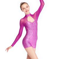 Buy cheap MiDee Long Sleeves Sequins Jazz Costumes Leotards Gymnastics Polo Dance Competition Clothing Biketard from wholesalers