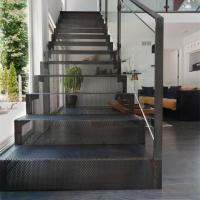 Wholesale carbon steel mesh staircase with toughed glass balsutrade design from china suppliers