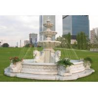 Buy cheap white marble outdoor stone fountains with horse statue from wholesalers