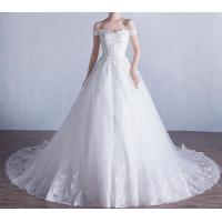 Luxurious Lace Appliques Princess Wedding Dress with Horizontal neck LXHS-1458