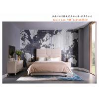 Buy cheap Light American style Bed sets Leather upholstered headboard bed for Hotel guestroom furniture with Wooden Side table from wholesalers