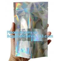 Buy cheap Bagease pack Recloseable Transparent Front Holographic Stand Up Pouch / Plastic Cosmetic Bag / Nail Polish Packaging from wholesalers
