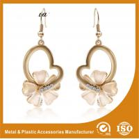 Wholesale Metal Chain Heart Shape Pearl Drop Earrings White Gold For Anniversary from china suppliers
